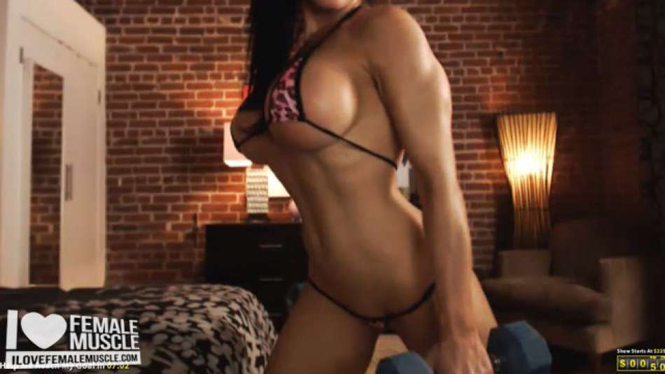 fitness model working out on her webcam