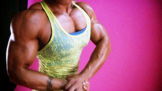 Karen Garrett showing her huge arms.