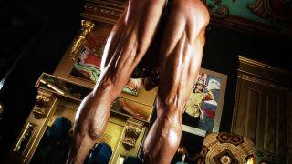 Female Bodybuilder Brigita Brezovac showing her amazing hamstring muscles.