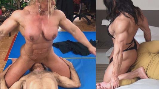 Nude female bodybuilder sitting on a guys face