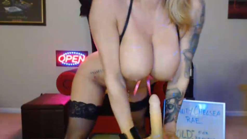 nice big fake tits on a webcam girl