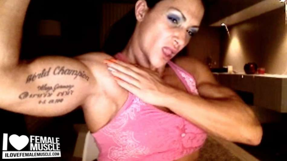 Huge Bicep Flex Female Bodybuilder Suzy Kellner on Webcam