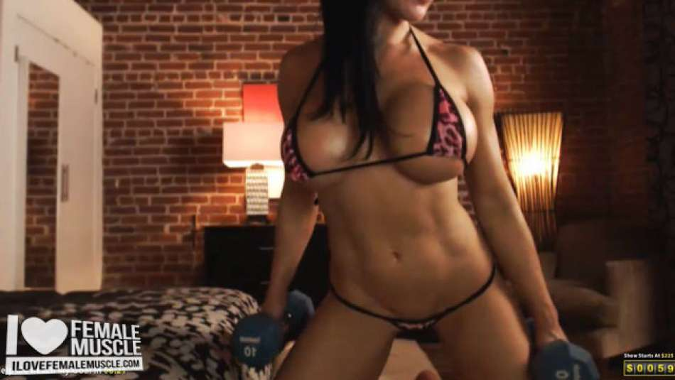 fit girl working out in webcam