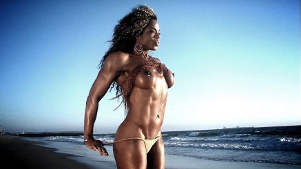 hot fitness girl topless on the beach