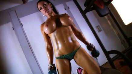 big tits fitness model samantha kelly topless workout