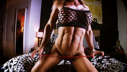 female muscle abs and big fake tits