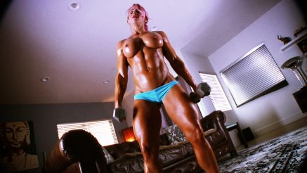 hot as duck topless female bodybuilder workout