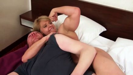 fbb dominating a guy and flexing bicep