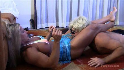 female bodybuilder mixed wrestling a guy
