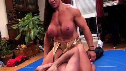 huge bodybuilder mixed wrestling