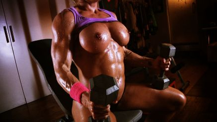 female bodybuilder contest shape workout topless