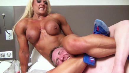 nude female bodybuilder wrestling a guy