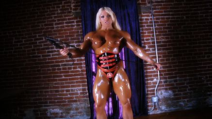 female muscle femdom topless dripping oil muscle