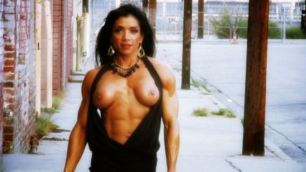 Hot Muscle Girl On The Street