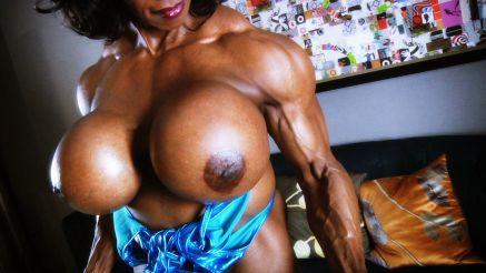 huge fake tits female bodybuilder topless workout