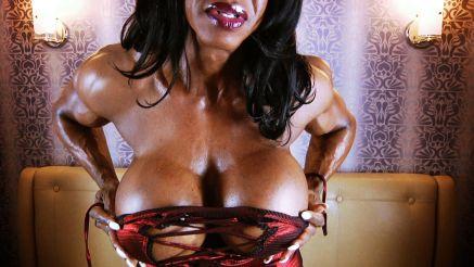 Yvette Bova huge massive fake tits female bodybuilder